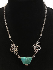 "Handmade Silver Wire Necklace with Stones Guatemala (10"" drop)"