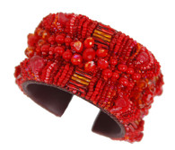 Handmade Red Beaded Cuff Guatemala