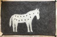 "Handmade Felt Wool Horse Rug on Charcoal Afghanistan (30"" x 48"")"