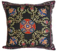 """Hand Embroidered Silk Pillow 10  Uzbekistan (20"""" x 20"""")"""