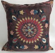 """Handwoven Hand Embroidered Silk Pillow Uzbekistan (20"""" x 20"""")"""
