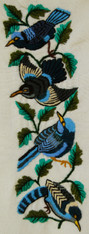"""Hand Embroidery on Cotton by the foot in Blues (4"""" x 11"""")"""