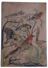 "Hand Painted Birds Folk Art on Wood Peru - B (8"" x 12"")"