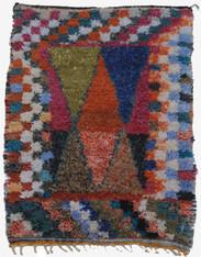 "Handwoven Pile Boucherouite Rug Morocco (43"" x 56"")"