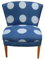 Indigo Block Printed Mod Dot Chair