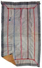 "Kantha Quilt Blanket Vintage Sari India  (46"" x 74"")"