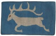 """Handmade Wool Felt Deer Rug Afghanistan Blue (30"""" x 48"""")"""