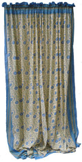 "Block printed Cotton Curtains Cornflower on Citron India (44"" x 105""each)"