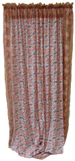 "Block printed Cotton Curtains Peach Sage and White India (44"" x 105""each)"