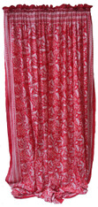 "Block printed Cotton Curtains White on Red India (44"" x 105""each)"