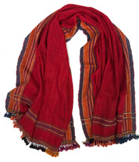 "Handwoven Woolen Natural Dyed Red Throw India (38"" x 84"")"