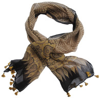 """Blockprinted Cotton and Silk Scarf Natural Dyed India 2 (21"""" x 76"""")"""