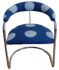 Chrome Dot Chair Covered with Hand Dyed Indigo Fabric India