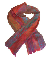 "Hand Woven Woolen Colorful Scarf India (15"" x 72"")"