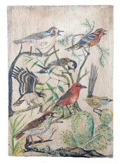 "Wooden Folk Art Birds Hand Painting Peru ( 8.5"" x11.75"")"