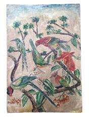 """Wooden Folk Art Birds Hand Painting Peru 1 ( 8."""" x11.75"""")"""