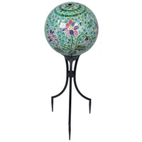 Mosaic Floral Gazing Ball with Keepsake