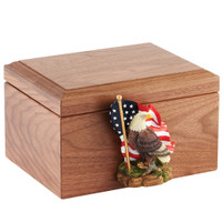 Walnut Memory Box with an Art Figure Included  - Shown Shut with Eagle Art Figure / Select Your Own Art Figure