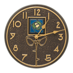 "Dard Hunter Blue Rose Wall Clock for Indoor or Outdoor use. 3"" tile by Motawi TIleworks."