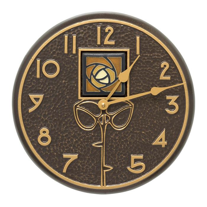 Indoor/Outdoor Amber Rose Wall Clock. Dard Hunter Rose Tile design by Motawi Tileworks.  French Bronze finish.