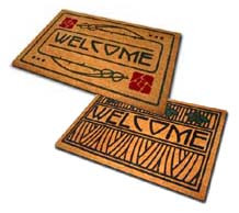 Set of Dard Hunter Welcome Mats: 1 Rose, 1 Iris
