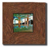 "Dard Hunter 3"" Solid Oak Legacy Frame (fits one 4x4 tile)"
