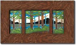 "Dard Hunter 3"" Solid Oak Legacy Frame with Dividers (fits two 4"" x 8"" & one 8"" x 8"" tile)"
