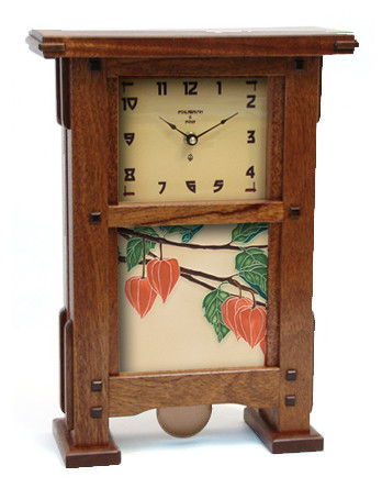 Greene and Greene Inspired Pendulum Mantel Clock in Mahogany with Motawi Tileworks Lantern Tile