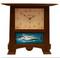 Craftsman Oak Finish with Turquoise Bonito Tile Pendulum Clock