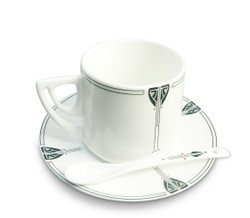 Dard Hunter Viennese Pendant China Cup & Saucer with Spoon