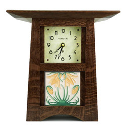 Schlabaugh and Sons Handmade Clock in Craftsman Oak with Golden Ladybell Tile