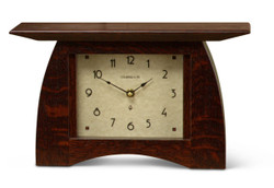 Arts and Crafts Mantel Clock - Quartersawn White Oak with Craftsman Oak Finish