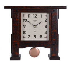 Greene & Greene Style Pendulum Mantle Clock in Solid Oak with Craftsman Oak Finish