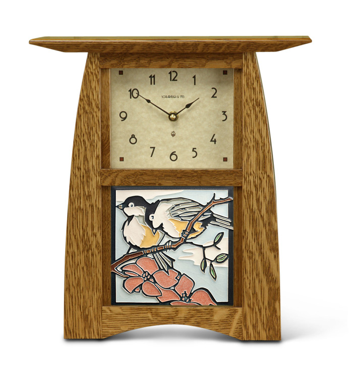 Handmade Clock in Nut Brown Oak with Spring Chickadees Tile