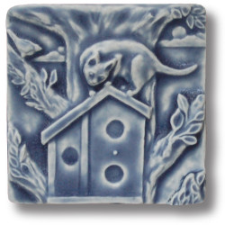 Whistling Frog Tile Cat on Birdhouse Tile 4x4