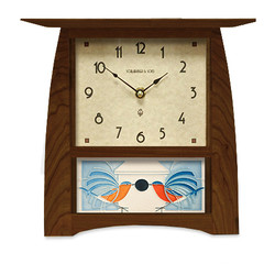 Arts and Crafts Tile Clock in Craftsman Oak with Motawi Homecoming Tile (Charley Harper design)