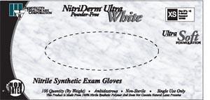 INNOVATIVE NITRIDERM ULTRA WHITE NITRILE SYNTHETIC POWDER-FREE EXAM GLOVES