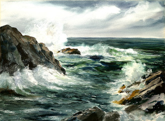 Maine Rocks, Rough Surf