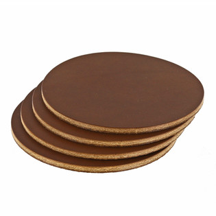 Wickett & Craig Leather Coasters - Medium Brown