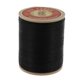 180 Noir, Black, Fil Au Chinois - Lin Cable - Waxed Linen Thread