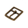"B7975 1"" Antique Brass, Center Bar Buckle, Solid Brass-LL"