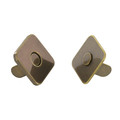 Square Thin Magnetic Snap, 18mm Diameter, Antique Brass, 6.6 lbs (3.0 kg) Strength