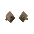 Square Thin Magnetic Snap, 14mm Diameter, Antique Brass, 5.5 lbs (2.5 kg) Strength