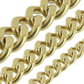 B8840 Natural Brass, Two-Side Flat Chain, Solid Brass-LL