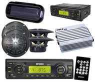 "200W Outdoor Radio USB AUX Input MMC 4 x 4"" Black Speakers Amp Cover Remote Kit"