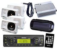 EKMRB11 Black Marine Radio USB Input 4 Box Speakers Amp Cover Antenna Remote Pkg