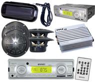 "Enrock Marine Boat MP3 AUX USB SD Stereo 4 x 4"" Black Speakers w/Amp + Cover Pkg"