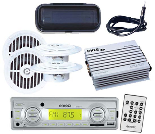 AM/FM Marine Stereo USB AUX Input Media Receiver + Remote Antenna Cover Amp Kit