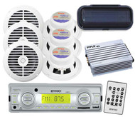 "Boat Yacht Media Receiver USB AUX 200W Radio 6 x 6.5"" Speakers Splash Cover Amp"