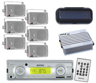 """USB AUX SD Card Functions Radio Player Silver w/6 x 3.5"""" Speakers + Amp & Cover"""